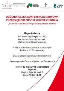 Konferencja  Sejm RP 12 maja 2016 druk